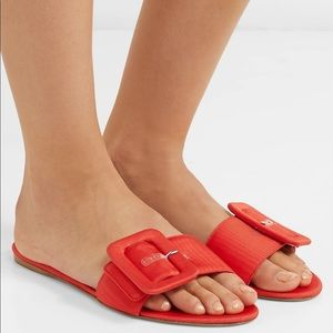 Attico Jole Buckled Moire Sandals in Red